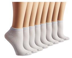 Women's Athletic No Show Running Socks 8 Pack, White, Shoe S