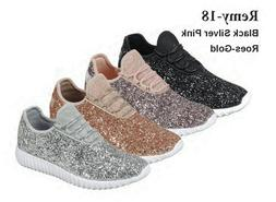 Size 5-11 Women Sequin Glitter Sneaker Tennis Lightweight Co