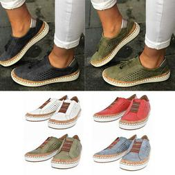 Slide Hollow-Out Shoes Round Toe Women Flat Heel Sneakers Ca