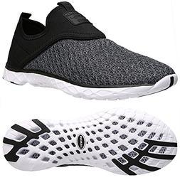 ALEADER Men's Slip-on Athletic Water Shoes Black/Gray 12 D U