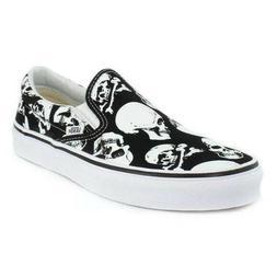 Vans slip on skull black white sneaker shoes men size 6.5 /