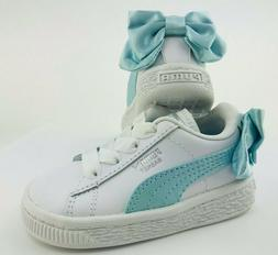 PUMA Sneakers Toddler 5C Basket Shoes White With Blue Bow Ch