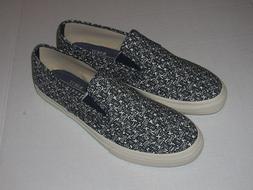 Sperry for J.Crew Slip on BLOCK PRINT Sneakers Navy/White BO