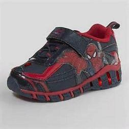 SPIDERMAN Light Up Boy's Shoes Blue+Red Athletic Sneakers To