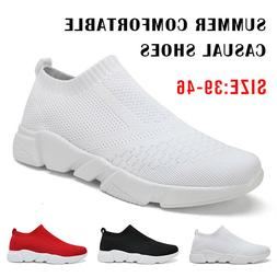 Summer Men's Walking Sock Shoes Lightweight Mesh Slip-on- Br
