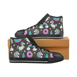 Unicorns Donuts Rainbow Lace Up Sneakers Classic High Top Ca