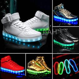 Unisex LED Shoes High Top Breathable Sneakers Light Up Shoes