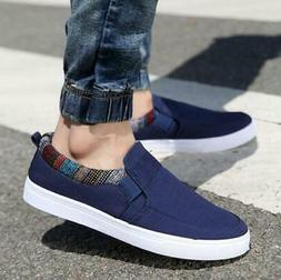 US Men's Casual Canvas Loafers Breathable Driving Boat Shoes