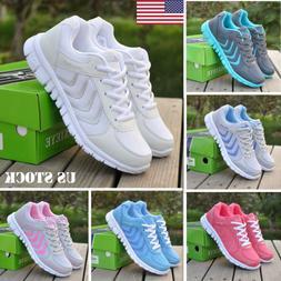 US Women Athletic Walking Sneakers Breathable Tennis Trainne