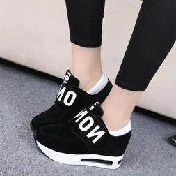 US Women Platform Wedge Casual Shoes Slip On Sport Sneakers