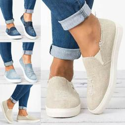 USA Women Ladies Denim Canvas Loafers Pumps Casual Slip On F