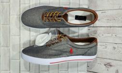 POLO Ralph Lauren VAUGHN Gray Chambray Denim Red Sneakers Sh