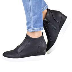 Huiyuzhi Womens Wedge Fashion Sneaker Hidden Heel Zipper Pla