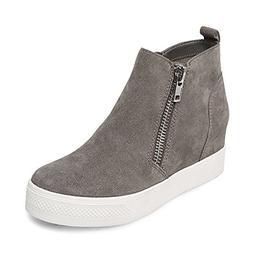 Steve Madden Women's Wedgie Sneaker, Grey Suede, 9 M US