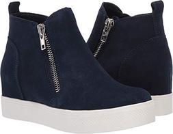 Steve Madden Women's Wedgie Sneaker, Navy Suede, 7 M US