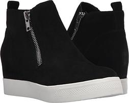 Steve Madden Women's Wedgie Sneaker, Black Suede, 8.5 M US