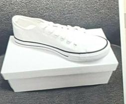White UNISEX Low Top Light Weight Sport Casual Canvas Sneake