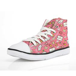 Woman Canvas Shoes Pink Fashion Casual Sneakers high top Spo
