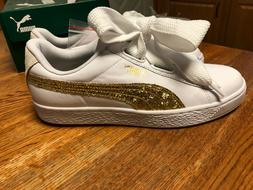 Woman's Puma Basket Heart Glitter Sneakers- Size 9
