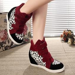Woman's Sneakers Wedge Hidden Heel Sports Shoes High Top Lad