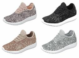 Women Cute Sequin Glitter Sneakers Lightweight Trainer Shoes