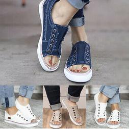 Women Denim Canvas Loafers Pumps Casual Slip On Flat Trainer