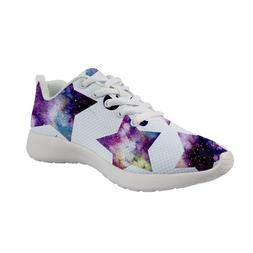 Women Fashion Sneakers Geometric Space Print Running Shoes F