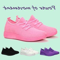 Women Flat Running Sneakers Walking Breathable-Mesh Slip-On