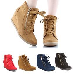 Women Hidden Wedge Heel Side Zip Platform Sneakers Lace Up F
