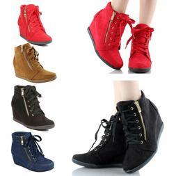 Women Hidden Wedge Platform Sneakers Ankle Booties High Top