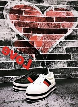 women high platform sneakers creepers flat stripes athletic