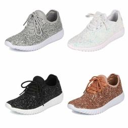 Women Lace up Fashion Sneakers Sparkle Slip On Wedge Platfor