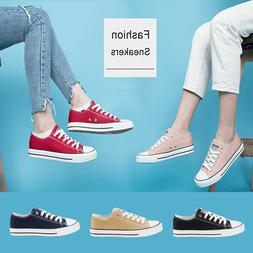 Women Low Top Canvas Sneaker Fashion Sport Shoes Classic Lac