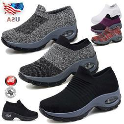 Women's Air Cushion Sneakers Mesh Walking Slip-On Running Gy
