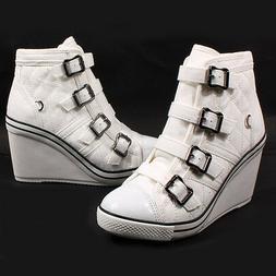 Women's Ankle Boots Wedges Heels Sneakers High Top Ladies La