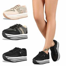 Women's Breathable Mesh Casual Walking Shoes Thick Platform