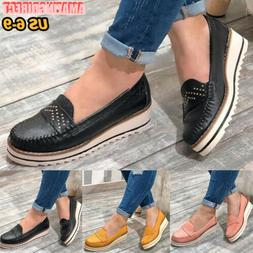Women's Canvas Loafers Slip On Flat Shoes Ladies Casual Trai