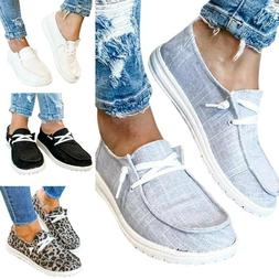 Women's Canvas Loafers Slip On Flat Shoes Ladies Casual Comf