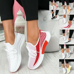 Women's Casual Lace Up Trainers Sports Sneakers Mesh Knit Co