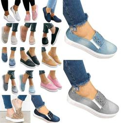 Women's Casual Slip On Flats Sneakers Ladies Loafers Trainer