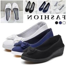 Women Slip On Flat Denim Canvas Loafers Pumps Casual Trainer