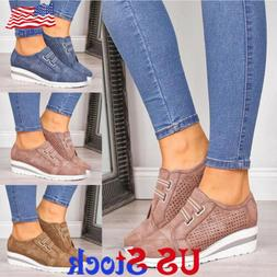 Women's Casual Trainer Shoes Round Toe Cut Wedge Heel Slip O