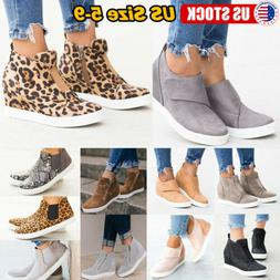 Women's Casual Trainers Shoes Round Toe Cut Flat Zip Slip On
