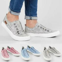 Women's Comfy Canvas Flat Shoes Loafers Slip-on US Sneakers