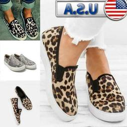 Women's Comfy Leopard Loafers Pumps Trainers Casual Slip On