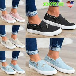 Women's Denim Canvas Loafers Round Toe Casual Flats Slip On