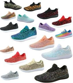 Women's Fahsion Sparkling Glitter Lace Up Light Weight Sneak