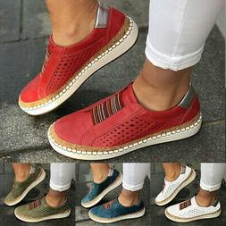 Women's Fashion Casual Hollow-Out Round Toe Slip On Flat Sne