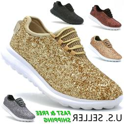 Women's Fashion Sneakers Lace-Up Glitter Sparkly Lightweight