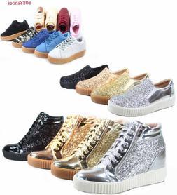 Women's Fashion Stylish Glitter Lace Up Platform Sneakers Sh